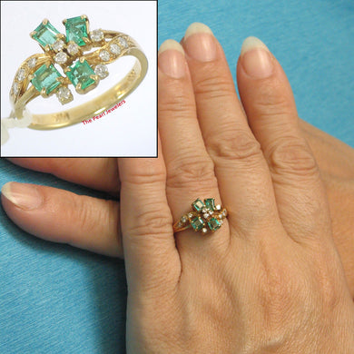 14k Solid Yellow Genuine & Natural Diamond, Baguette Emerald Cocktail Ring