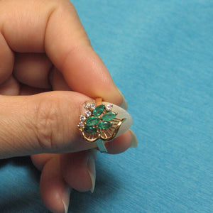 18k Yellow Solid Gold Genuine Diamond, Green Marquise Emerald Cocktail Ring