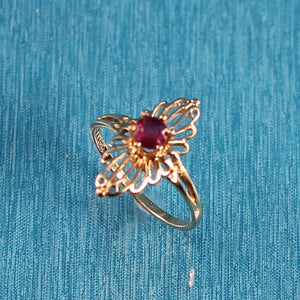 Genuine Round Ruby 14k Solid Yellow Gold Ring
