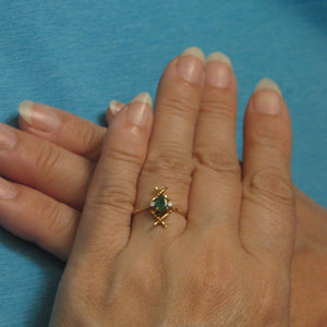 14k Solid Yellow Gold Genuine & Natural Diamond & Oval Emerald Ring