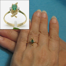 Load image into Gallery viewer, 14k Solid Yellow Gold Genuine & Natural Diamond & Oval Emerald Ring