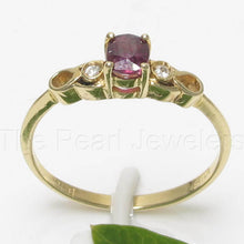 Load image into Gallery viewer, 14k Solid Yellow Gold Genuine Diamonds & Oval Shaped Natural Red Ruby Ring