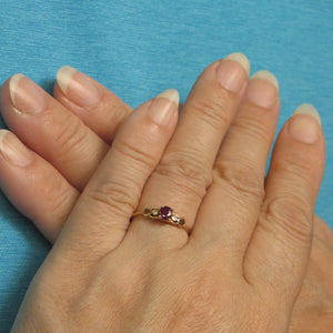 14k Solid Yellow Gold Genuine Diamonds & Oval Shaped Natural Red Ruby Ring