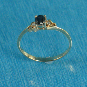 14k Solid Yellow Gold Genuine Diamond & Natural Blue Sapphire Solitaire Ring