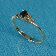Load image into Gallery viewer, 14k Solid Yellow Gold Genuine Diamond & Natural Blue Sapphire Solitaire Ring