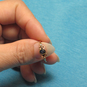 14k Solid Yellow Genuine Diamonds & Natural Blue Sapphire Bezel Setting Ring