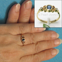 Load image into Gallery viewer, 14k Solid Yellow Genuine Diamonds & Natural Blue Sapphire Bezel Setting Ring