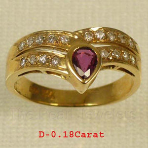 14k Yellow Solid Gold Bezel Setting Genuine Diamonds, Cabochon Red Ruby Ring
