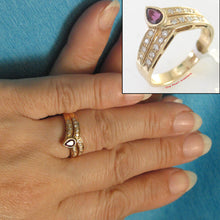 Load image into Gallery viewer, 14k Yellow Solid Gold Bezel Setting Genuine Diamonds, Cabochon Red Ruby Ring