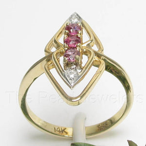 14k Solid Yellow Gold Genuine Diamonds, Square Natural Red Ruby Cocktail Ring