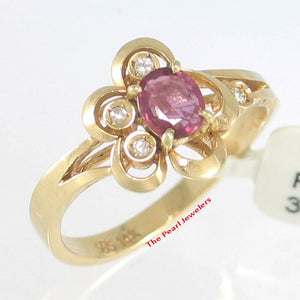 14k Solid Yellow Genuine Diamonds & Oval Natural Red Rubies Cocktail Ring