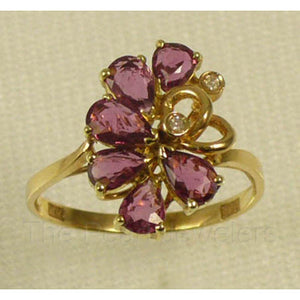 14k Solid Yellow Gold Genuine Diamonds, Pear Natural Red Ruby Cocktail Ring