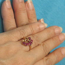 Load image into Gallery viewer, 14k Solid Yellow Gold Genuine Diamonds, Pear Natural Red Ruby Cocktail Ring