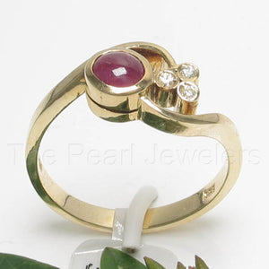 14k Yellow Solid Gold Genuine Diamonds, Cabochon Natural Red Ruby Ring