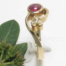 Load image into Gallery viewer, 14k Yellow Solid Gold Genuine Diamonds, Cabochon Natural Red Ruby Ring