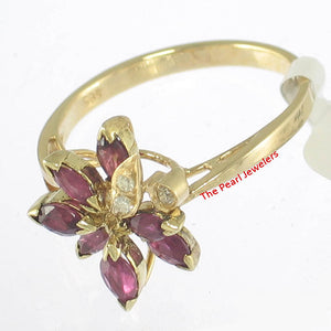 14k Solid Yellow Genuine Diamonds, Marquise Natural Red Rubies Cocktail Ring