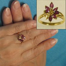 Load image into Gallery viewer, 14k Solid Yellow Genuine Diamonds, Marquise Natural Red Rubies Cocktail Ring