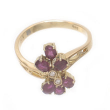 Load image into Gallery viewer, 14k Solid Yellow Gold Genuine Diamond, Cabochon Shaped Natural Red Ruby Ring