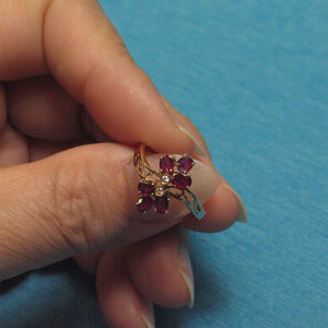 14k Solid Yellow Gold Genuine Diamond, Cabochon Shaped Natural Red Ruby Ring