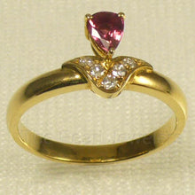 Load image into Gallery viewer, 14k Solid Yellow Gold Genuine Diamond & Pear Natural Red Ruby Solitaire Ring