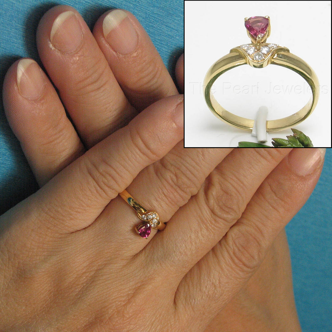 14k Solid Yellow Gold Genuine Diamond & Pear Natural Red Ruby Solitaire Ring