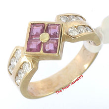 Load image into Gallery viewer, 14k Yellow Genuine Diamonds, Square Red Ruby Channel Setting Cocktail Ring