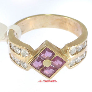 14k Yellow Genuine Diamonds, Square Red Ruby Channel Setting Cocktail Ring