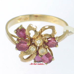 14k Solid Yellow Gold Genuine Diamonds, Pear & Oval Red Ruby Cocktail Ring