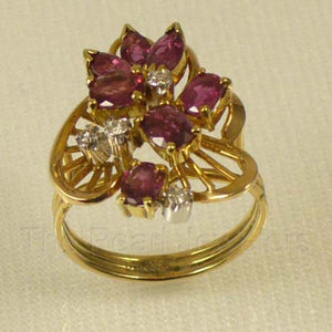 Natural Red Marquise &Oval Ruby, Diamond Cocktail Ring 14k Yellow Solid Gold