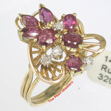 Load image into Gallery viewer, Natural Red Marquise &Oval Ruby, Diamond Cocktail Ring 14k Yellow Solid Gold