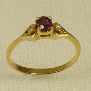 14k Yellow Solid Gold Genuine Diamonds & Oval Cut Natural Red Ruby Ring