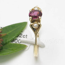 Load image into Gallery viewer, 14k Yellow Solid Gold Genuine Diamonds & Oval Cut Natural Red Ruby Ring