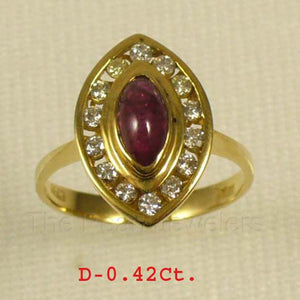 14k Yellow Solid Gold Genuine & Natural Red Marquise Ruby & Diamonds Ring