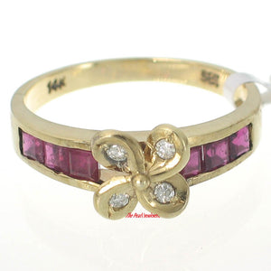 14k Solid Yellow Gold Genuine Diamond, Natural Red Square Ruby Cocktail Ring