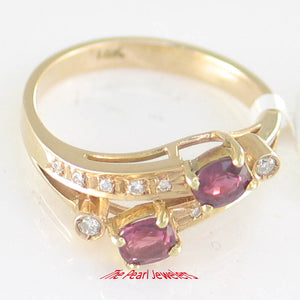 14k Solid Yellow Genuine Diamonds, Natural Red Oval Rubies Cocktail Ring