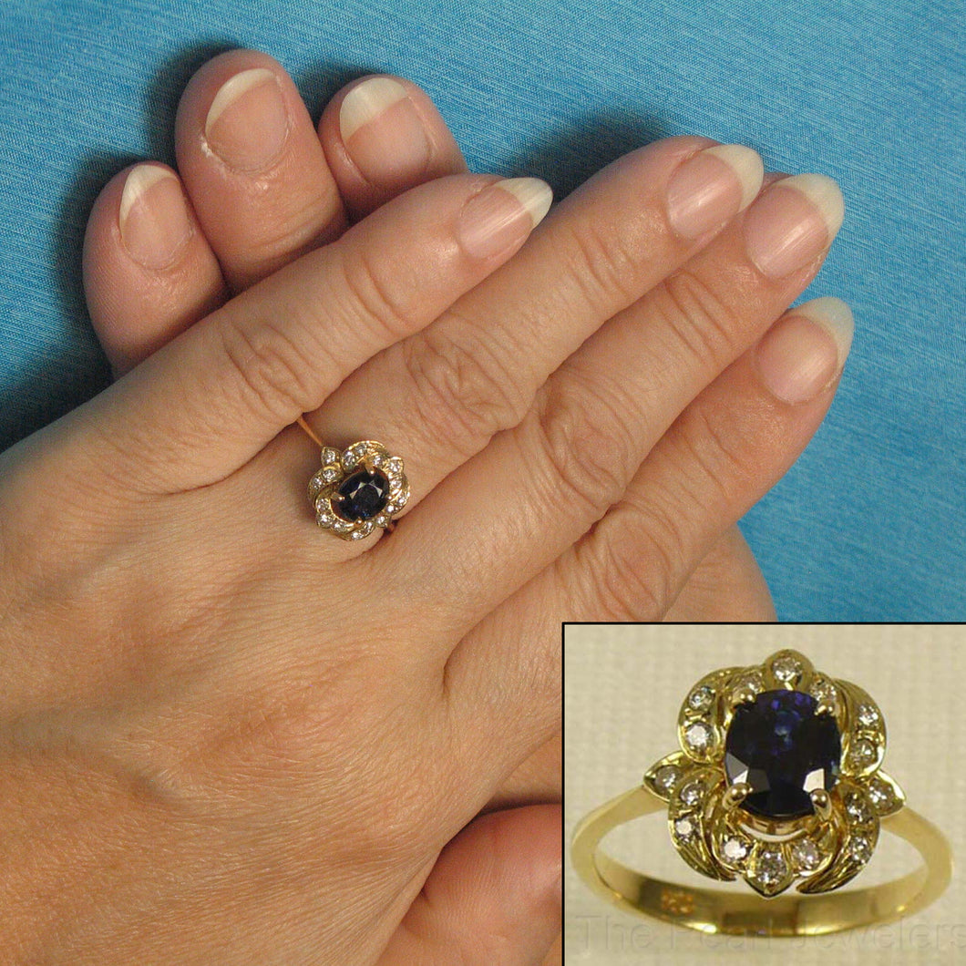 14k Yellow Gold Genuine Diamonds, Natural Blue Oval Sapphire Solitaire Ring