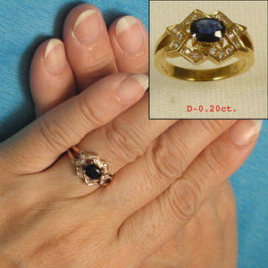 14k Solid Yellow Gold Genuine Diamonds, Natural Blue Oval Sapphire Band Ring
