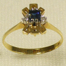 Load image into Gallery viewer, 18k Solid Yellow Gold Diamonds, Natural blue Baguette Sapphire Cocktail Ring