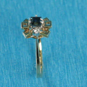 18k Solid Yellow Gold Diamonds, Natural blue Baguette Sapphire Cocktail Ring