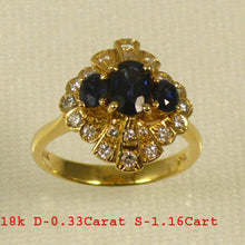Load image into Gallery viewer, 18k Yellow Gold Genuine Diamonds, Natural blue Oval Sapphire Cocktail Ring