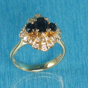 18k Yellow Gold Genuine Diamonds, Natural blue Oval Sapphire Cocktail Ring
