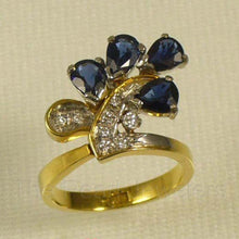 Load image into Gallery viewer, 18k Two Tone Solid Gold Diamonds, Natural blue Pear Sapphire Cocktail Ring