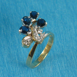 18k Two Tone Solid Gold Diamonds, Natural blue Pear Sapphire Cocktail Ring