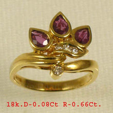 Load image into Gallery viewer, 18k Yellow Solid Gold Genuine Diamonds, Natural Red Pear Ruby Cocktail Ring