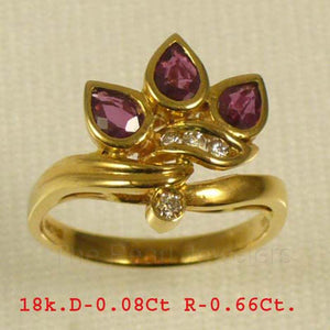 18k Yellow Solid Gold Genuine Diamonds, Natural Red Pear Ruby Cocktail Ring