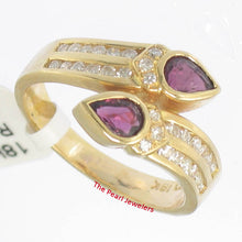 Load image into Gallery viewer, 18k Solid Yellow Gold Genuine Diamonds, Natural Red Pear Ruby Cocktail Ring