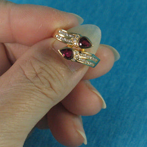 18k Solid Yellow Gold Genuine Diamonds, Natural Red Pear Ruby Cocktail Ring