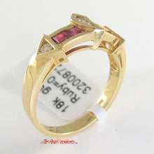 Load image into Gallery viewer, 18k Solid Yellow Gold Genuine Diamonds, Natural Red Square Ruby Cocktail Ring