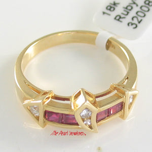 18k Solid Yellow Gold Genuine Diamonds, Natural Red Square Ruby Cocktail Ring