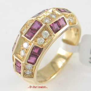 18k Solid Yellow Gold Genuine Diamonds, Natural Red Square Ruby Band Ring